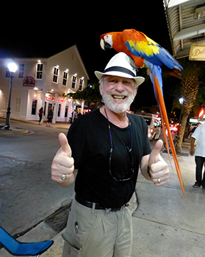 Lenny Frieling with Parrot on Head in Key West, FL.